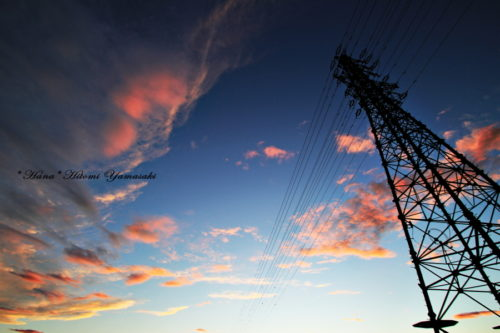 鉄塔と夕焼け